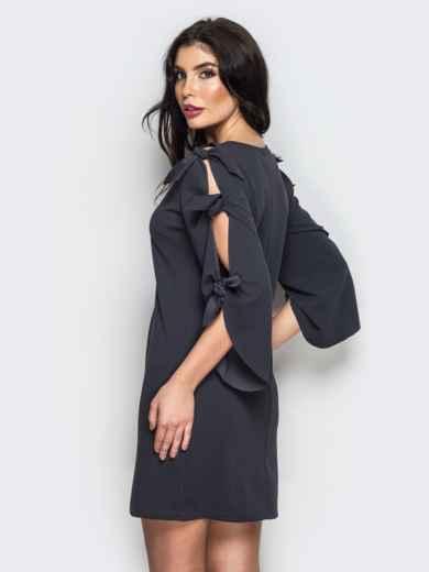 Тёмно-серое платье с завязками на рукавах - 13518, фото 3 – интернет-магазин Dressa