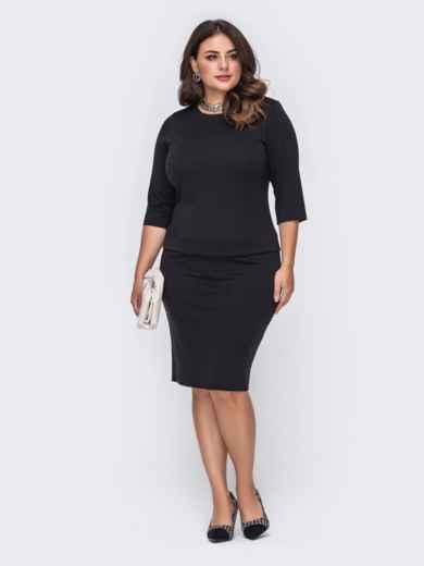Трикотажный комплект большого размера с юбкой чёрный 50788, фото 1