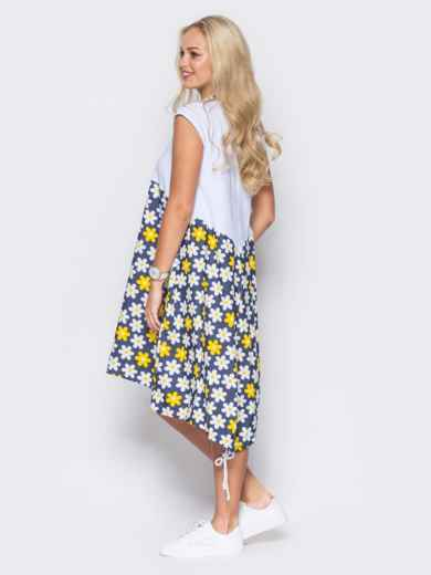 Яркое платье с удлиненной спинкой и цветочным принтом в ромашки - 11118, фото 2 – интернет-магазин Dressa