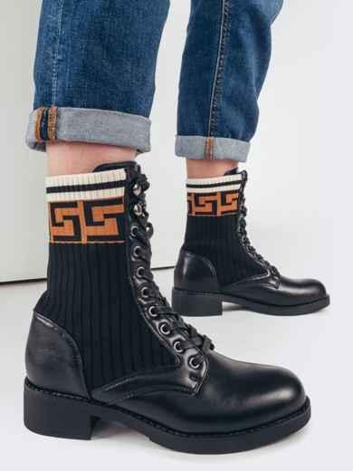 Демисезонные ботинки с текстильными вставками чёрные 51740, фото 1