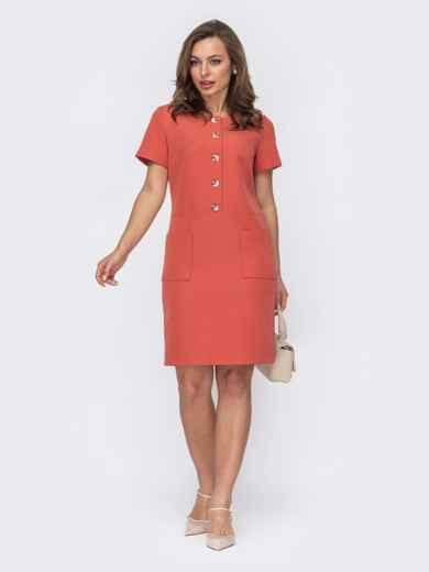 Терракотовое платье на пуговицах по полочке 53582, фото 1