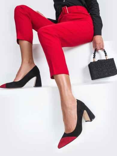 Чёрные туфли из искусственной кожи на каблуке 45479, фото 1