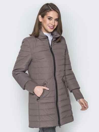 Бежевая куртка с манжетами из кашемира и воротником - 20230, фото 2 – интернет-магазин Dressa