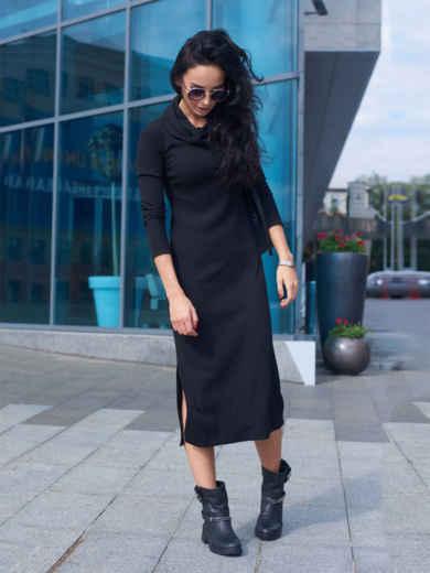 Чёрное платье-гольф с разрезами по бокам 27184, фото 6