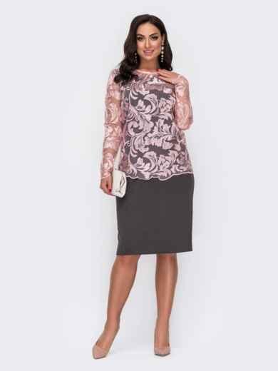 Черный комплект большого размера из блузки и платья 52284, фото 1