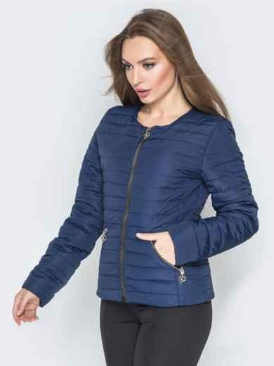 Куртка из плащевки с карманами на молнии синяя - 20233, фото 2 – интернет-магазин Dressa