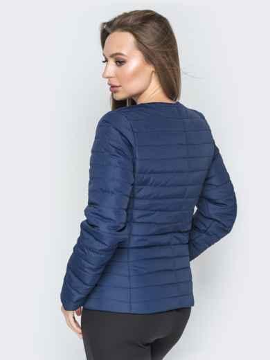 Куртка из плащевки с карманами на молнии синяя - 20233, фото 3 – интернет-магазин Dressa