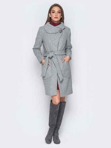 Пальто серого цвета из букле с воротником-хомут - 18255, фото 1 – интернет-магазин Dressa