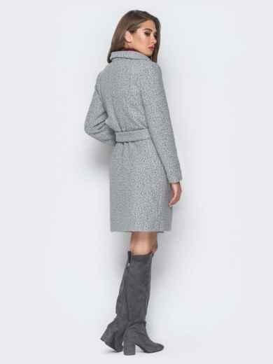 Пальто серого цвета из букле с воротником-хомут - 18255, фото 3 – интернет-магазин Dressa