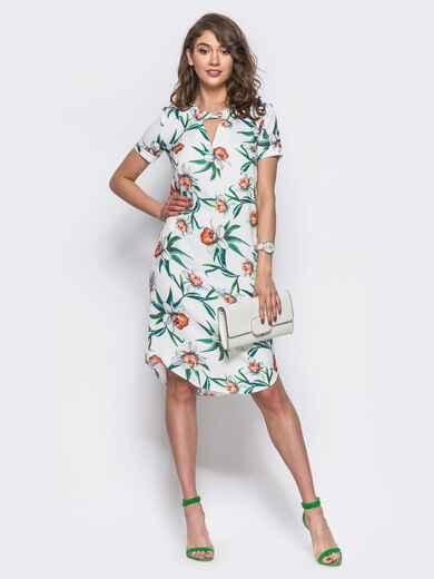 Платье с закругленным низом и короткими рукавами белое 11550, фото 1