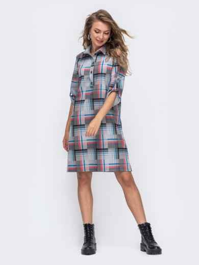 Серое платье-рубашка в клетку 50962, фото 2