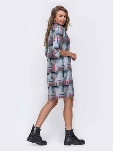 Серое платье-рубашка в клетку 50962, фото 3