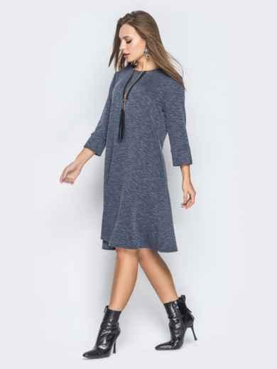Серое платье-трапеция с молнией на полочке - 19038, фото 2 – интернет-магазин Dressa