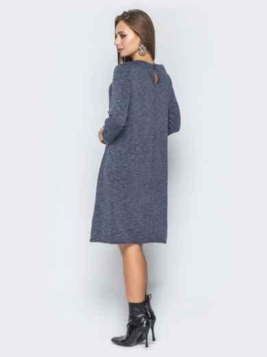 Серое платье-трапеция с молнией на полочке - 19038, фото 3 – интернет-магазин Dressa