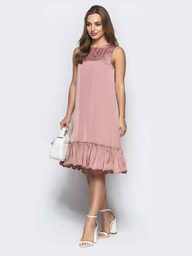 Свободное платье с вырезом по спине пудровое - 21593, фото 1 – интернет-магазин Dressa
