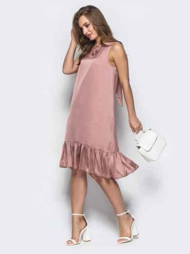 Свободное платье с вырезом по спине пудровое - 21593, фото 2 – интернет-магазин Dressa