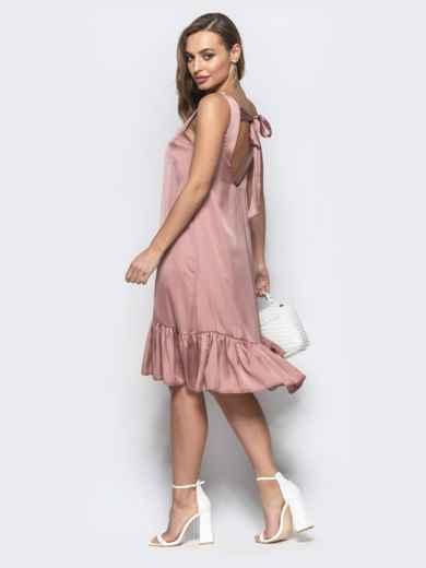 Свободное платье с вырезом по спине пудровое - 21593, фото 3 – интернет-магазин Dressa
