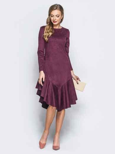 Замшевое платье бордового цвета с воланом по низу - 18161, фото 1 – интернет-магазин Dressa