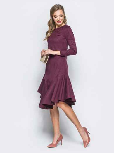 Замшевое платье бордового цвета с воланом по низу - 18161, фото 2 – интернет-магазин Dressa