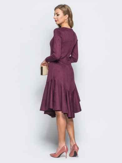 Замшевое платье бордового цвета с воланом по низу - 18161, фото 3 – интернет-магазин Dressa