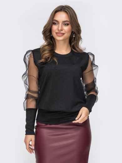 Чёрный джемпер с объемным рукавами из сетки 43172, фото 1