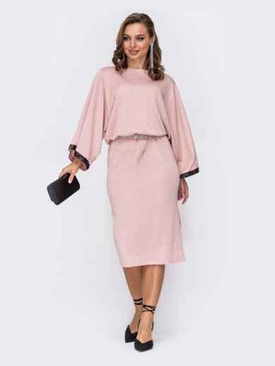 Платье с нитью люрекса и рукавом-колокол пудровое 52074, фото 1