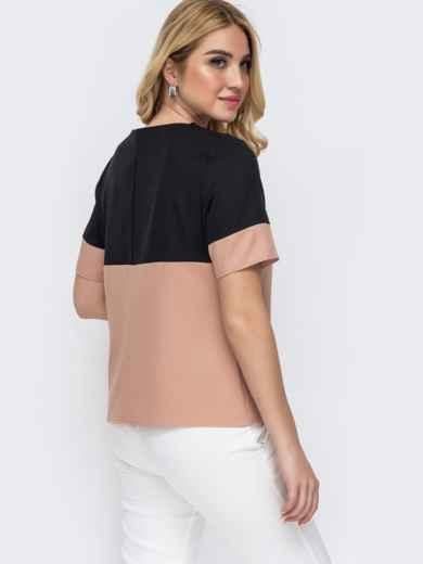 Пудровая блузка батал прямого кроя с контрастной кокеткой 49224, фото 2
