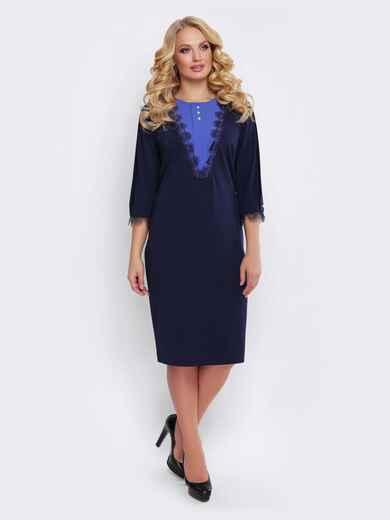 Тёмно-синее платье с кружевом и контрастной вставкой - 19528, фото 1 – интернет-магазин Dressa