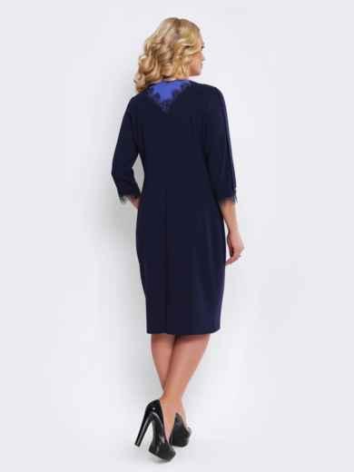 Тёмно-синее платье с кружевом и контрастной вставкой - 19528, фото 2 – интернет-магазин Dressa