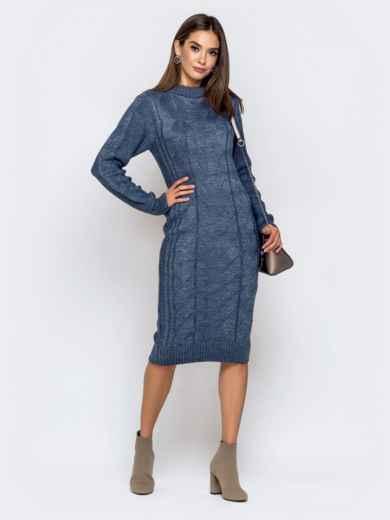 Вязаное платье-миди с косами синее 41061, фото 1