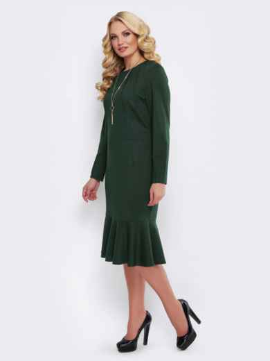 Зелёное платье с юбкой-годе и вшитым поясом - 19523, фото 2 – интернет-магазин Dressa