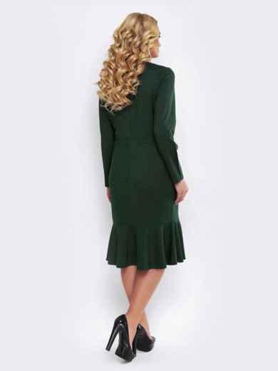 Зелёное платье с юбкой-годе и вшитым поясом - 19523, фото 3 – интернет-магазин Dressa