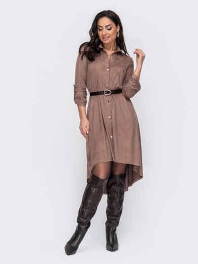 Бежевое платье-рубашка большого размера с удлиненной спинкой 52742, фото 1