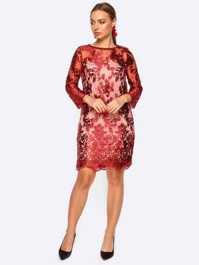 Платье из фатина с подкладкой красное - 17433, фото 1 – интернет-магазин Dressa