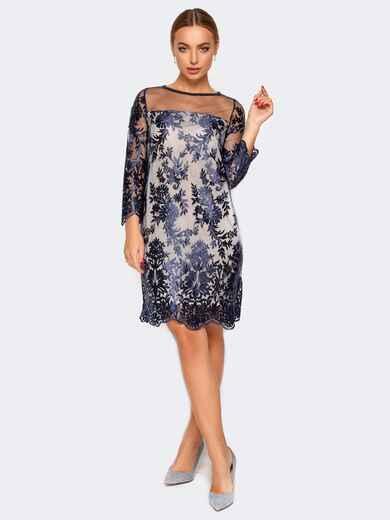 Платье из фатина с подкладкой синее - 17432, фото 1 – интернет-магазин Dressa