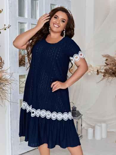Тёмно-синее платье большого размера с кружевом 46552, фото 1