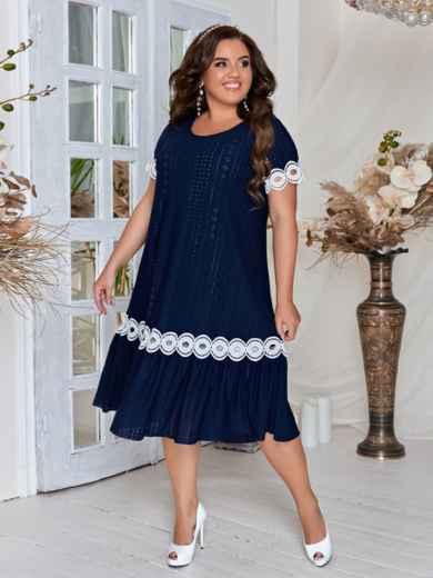 Тёмно-синее платье большого размера с кружевом 46552, фото 2
