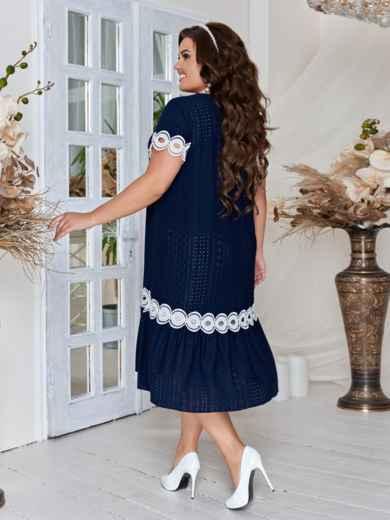 Тёмно-синее платье большого размера с кружевом 46552, фото 3