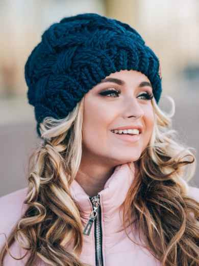 "Тёмно-синяя вязаная шапка с объемными ""косами"" - 14857, фото 3 – интернет-магазин Dressa"