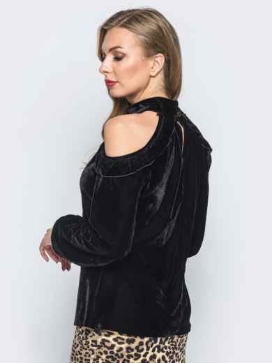 Велюровая кофта черного цвета с открытыми плечами - 17984, фото 2 – интернет-магазин Dressa