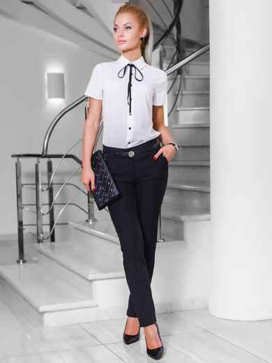 Черные брюки со шлёвками для пояса - 10296, фото 2 – интернет-магазин Dressa