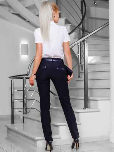 Черные брюки со шлёвками для пояса - 10296, фото 4 – интернет-магазин Dressa