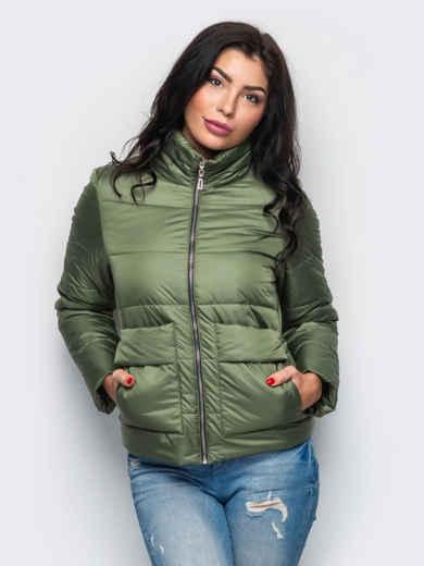 Демисезонная куртка с накладными карманами цвета хаки 15182, фото 1