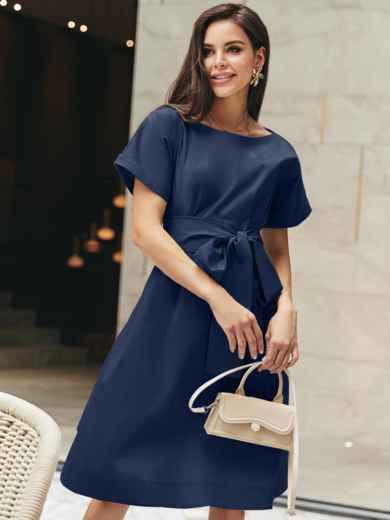 Хлопковое платье с короткими рукавами и поясом в комплекте 11145, фото 1