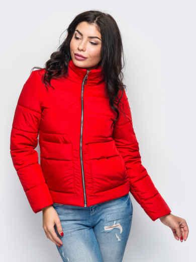 Красная демисезонная куртка с накладными карманами 15179, фото 1