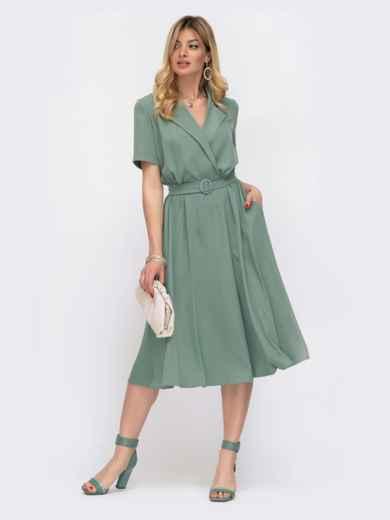 Приталенное платье-миди из костюмной ткани зеленое 48026, фото 1