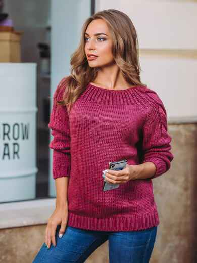 Свитер с горловиной «лодочка» на резинке бордовый - 12990, фото 1 – интернет-магазин Dressa