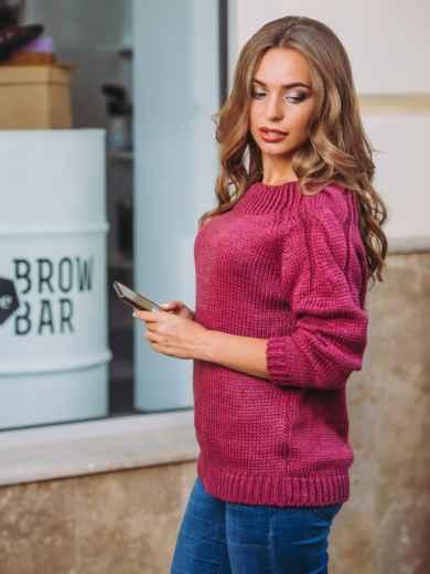 Свитер с горловиной «лодочка» на резинке бордовый - 12990, фото 2 – интернет-магазин Dressa