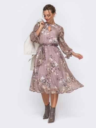 """Шифоновое платье-миди коричневого цвета с вырезом """"капля"""" 50605, фото 1"""