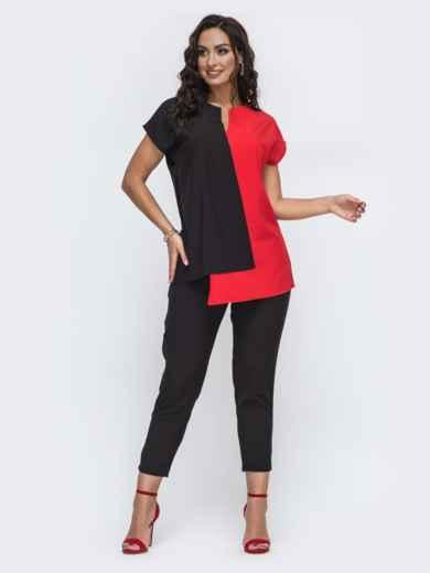 Брючный костюм батал с комбинированной блузкой красный 49917, фото 1